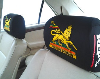 Lion of Judah Embroidered Crest HEADREST COVERS