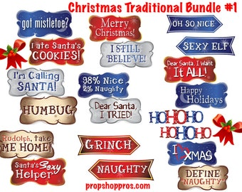 Christmas Signs | Christmas Props | Photo Booth Props | Prop Signs | Christmas Traditional #1