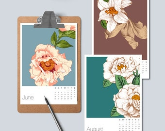 Desk Calendar, Printable 2017 Calendar, Floral Calendar 2017, Floral Monthly Calendar, Small Desk Calendar, Calendar Download, Gift for Mom