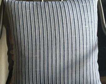 "18"" x 18"" Striped Linen Pillow Cover"
