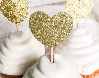 Gold Glitter Heart Cupcake Toppers • Birthday• Baby Shower • Bridal Shower • Wedding • Engagement • Food Picks