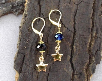 Earrings star crystals gold