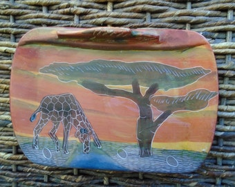 Vintage Hand Painted Ceramic Plate African Scene