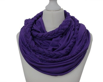 Zopfloop purple / / Zopfschal / / braided scarf