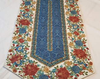 Elegant Cream and Blue Quilted Table Runner
