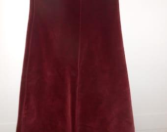 Burgundy Velvet Skirt. Edwardian Style skirt. Mary Poppins Skirt. Long Velvet Skirt.