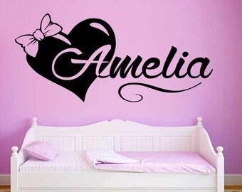 Girls Personalised Wall Sticker, Bedroom Nursery Playroom Wall Decal