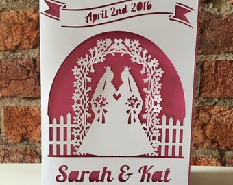 Personalised Lesbian Wedding Card, Gay Wedding, Bride Card, LGBT, Bride & Bride, Mrs + Mrs