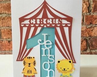 Circus Birthday Card, Personalised Birthday Card, Circus, Big Top Birthday Card, Age Birthday Card