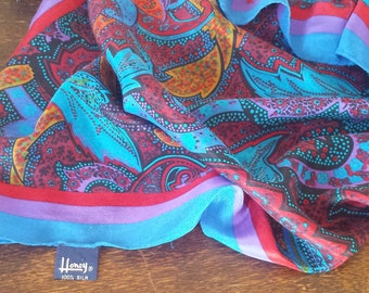 HONEY paisley design silk scarf in blue, red, yellow, violet and black