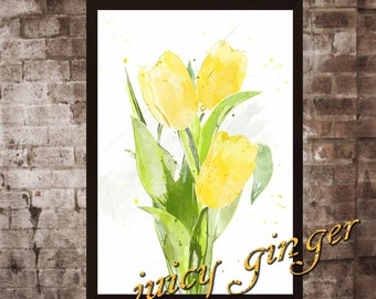 Tulips art print ,Tulips watercolor poster, Art Print, instant download, Watercolor Print, poster, Home Decor