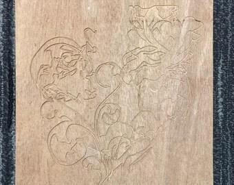 Flower on wood tile