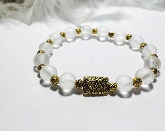Bracelet rock crystal Quartz and Tibetan Pearl Gold
