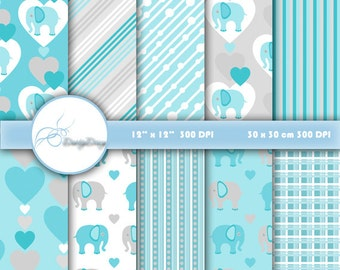 Digital paper pack Elephant, Digital Paper Elephant, Elephants Scrapbook, blue elephant patterns, card making, Blue Collection
