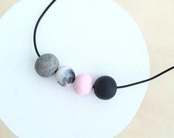 modern pink black marble polymer clay necklace handmade by accentvault | unique gift for her | statement necklace | clay jewelry