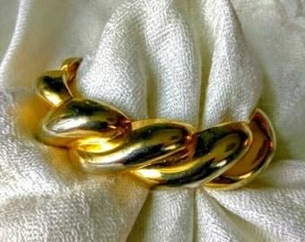 Gold Tone Chunky Hinged Bracelet