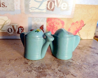 Vintage Salt and Pepper Shakers Watering Can in Teal With Yellow Flowers