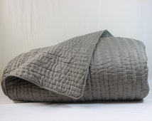 Hand Made Cotton Quilt Full Grey indian kantha quilt cotton grey quilt lightweight quilt