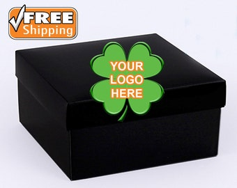 10 Black/White/Brown Custom Gift Boxes * Personalized Gift Boxes * Custom Boxes Company Logo * Luxiorous Gift Boxes with Lids