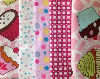 Fabric Bundle 5 Fat Quarters Cupcakes 100% Cotton Patchwork Quilting Crafts