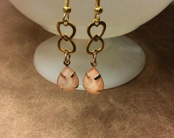 Handmade dangle earrings pink shimmer gold hearts links