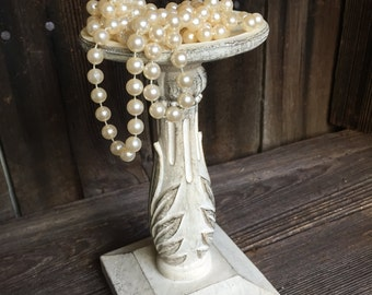 Antique White - Shabby Chic - Distressed - Pillar Candle Holder