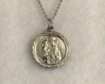 """Vintage Saint Anne religious medal, Patron Saint, silver rhodium plated religious medallion, St Anne de Beaupre, 3/4"""" pendant"""