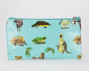 Oilcloth Pencil case- Australian animal kangaroo - Zip pouch- Oilcloth Pencil pouch- Zip wallet- School bag- Womens wallet- Laminated cotton
