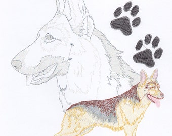 GERMAN SHEPHERD PORTRAIT - Machine Embroidery Design - dog pet