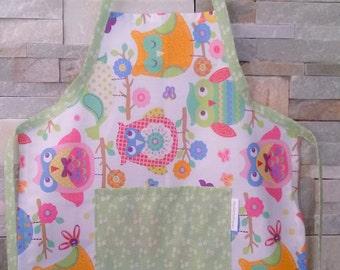 Apron for kids, cotton apron for girl with owl print - Grembiule in cotone per bambina con stampa di gufi