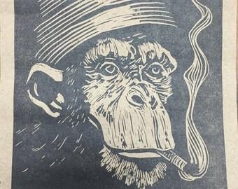 smoking chimpanzee hand pulled linoleum block print 6x9 devo monkey