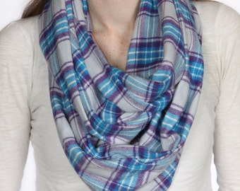 Cozy Purple and Blue Plaid Infinity Scarf