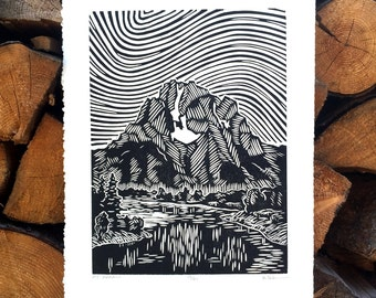 Mount Moran Woodcut