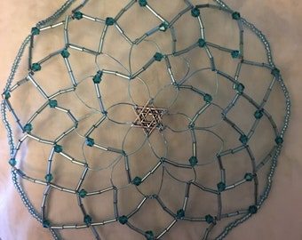Turquoise Glass Beaded Kippah
