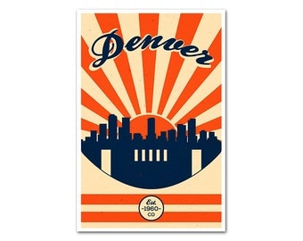 Denver Colorado Football Poster with a Vintage Look