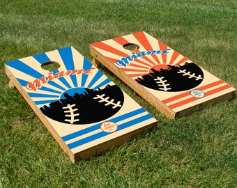 Miami Baseball Cornhole Board Set with Bean Bags