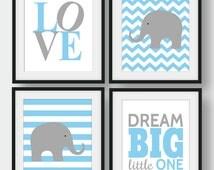 50% OFF Baby Room Wall Art, Set of 4 prints, Blue And Grey Print, Baby Boy Room Decor, Chevron Wall Art, Nursery Quote Art, Love, Dream Big