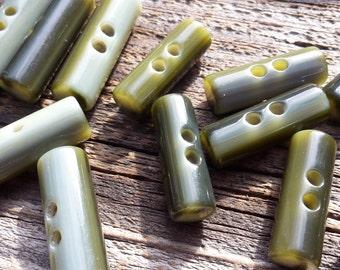 Unusual Spanish Cylindrical Grey / Green Multi 2 Hole Button / Toggle  x 10