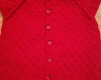 Knitted baby vest, size 9-12  months, red color with ladybug bottoms