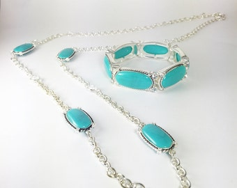 Teal and Silver Necklace & Bracelet Set, Teal Jewelry, Teal Pendant