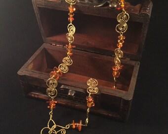 Necklace Amber and Swarovski