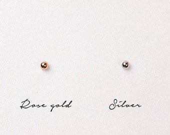 Sterling Silver Ball Earrings,Silver Ball Earrings,Rose Gold Plated Ball Earrings,2mm Ball Earrings,Tiny Ball Stud Earrings,Anniversary Gift