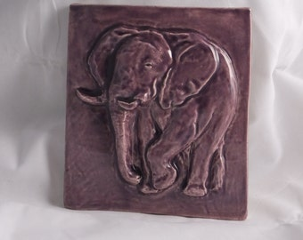 Ceramic Art Tile-Elephant-purple