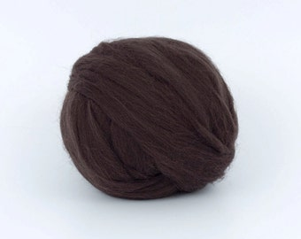DarkCoffee B190, 1.78oz (50gr) 26mic merino tops felting wool, for needle felting, wet felting, spinning.