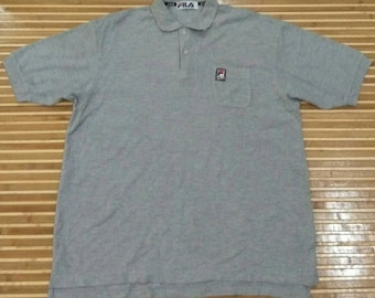 Vtg FILA Japan Grey Polo Shirt