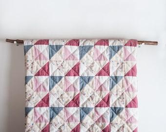 lap quilt, throw quilt, handquilted quilt, patchwork quilt, upcycled quilt, pinwheel quilt, quilt, vintage quilt