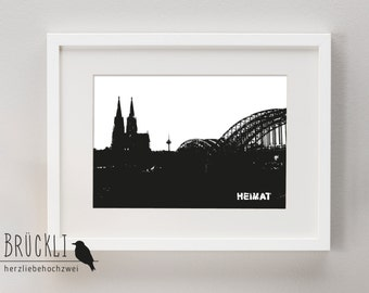 A4 print / mural / poster / Cologne / DOM / Hohenzollern Bridge / Home