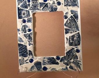 Mosaic Picture Frame, Broken China, Broken China Mosaic, Mosaic Tile Wall Art, Broken Glass Art, Mosaic Frame, 5x7 Frame, Picture Frame 5x7