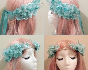 Black / aqua blue Goddess flower rave crown ,LED light up Flower headpiece , rave hair accessories