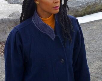 80s Vintage Navy Wool Coat, Maxi length